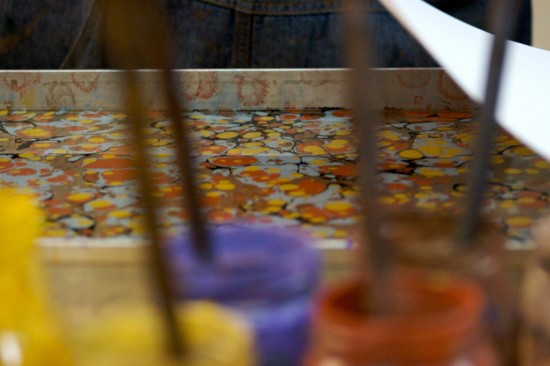 """Marbling tray, awaiting paper. (treviño, """"The paper goes on,"""" October 6, 2009, Creative Commons Attribution.)"""