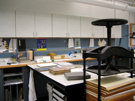Some recently conserved items sit on a (height-adjustable) desk.