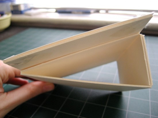 The mounted paper, with the wedge attached. It's a very simple structure. Ideally, though, the wedge should be as wide as the paper's board mount—but again, our materials were precut.