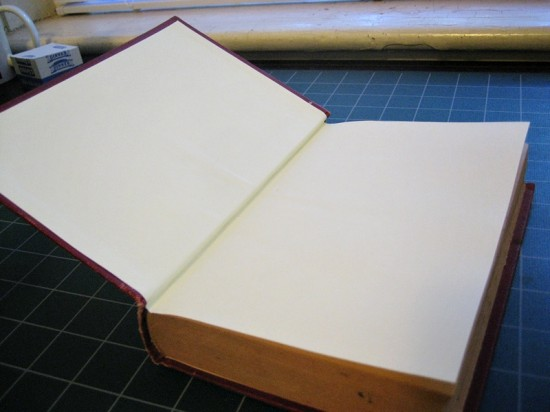 The repairs have dried. Here we see the new endsheets. The structure of the book is much improved.