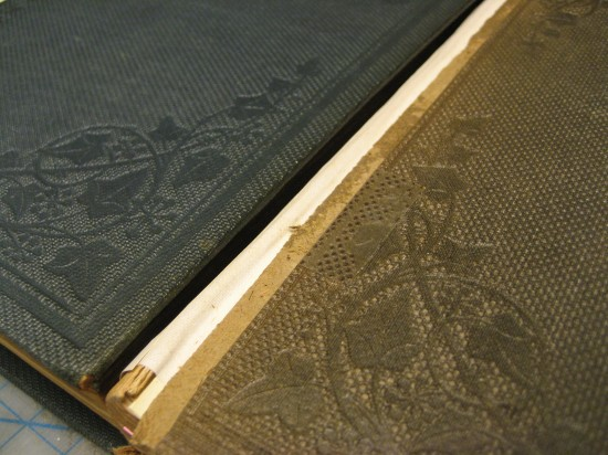 These two books used different-color book cloth, but had the same blind stamping.