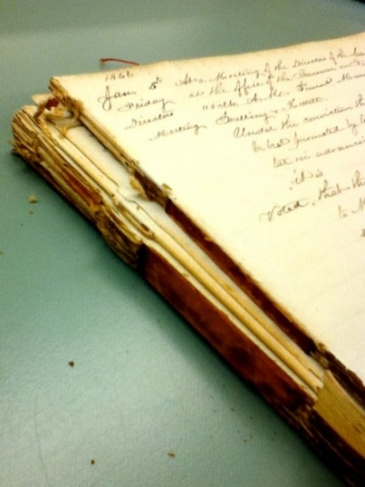 Here's the manuscript, in the middle of disbinding. You might just be able to make out where the parchment tapes are under the sewing. The parchment had become extremely brittle and therefore no longer provided good support for the pages.