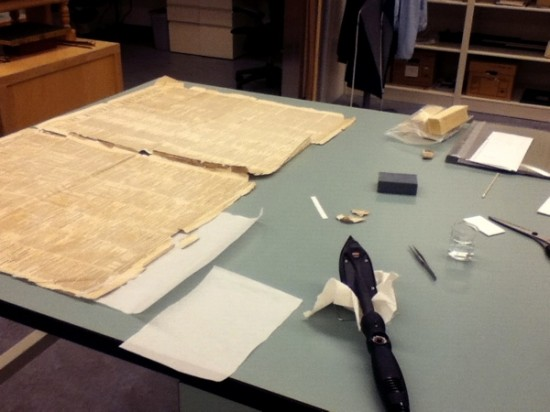 First, and the most exciting, was repairing this newspaper from 1854. It needed a fair bit of flattening, as well as mending with heat-set tissue.