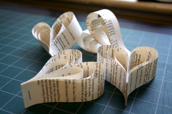 Paper hearts made from the pages of Whitman's Leaves of Grass. (Leaves have a special significance for my fiancé and me, and poetry is never far from my heart.) I wonder whether Walt would be dismayed or pleased by this treatment of his brilliant text.
