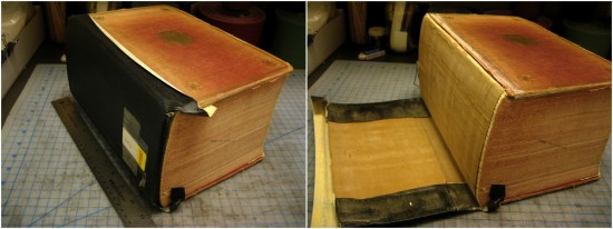 "The ""before"" shots. As you can see, this book was once repaired with tape (this tape is specifically designed for these kinds of repairs). According to a handwritten note in the back of the book, that was probably in 1993. In the time since, the adhesive had dried up."